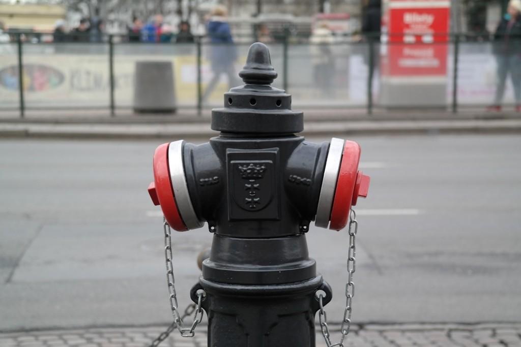 Nowy hydrant na ulicy miasta, na zbliżeniu widać herb Gdańska